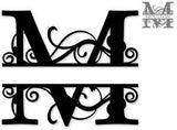 Split monogram M metal art