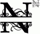 Split monogram N metal art
