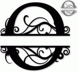 Split monogram O metal art