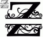 Split monogram Z metal art