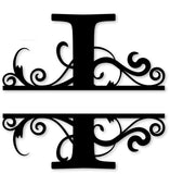 Split monogram I metal art