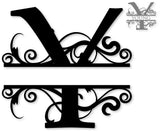Split monogram letter Y metal art