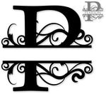 Split monogram P metal art