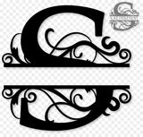 Split monogram S metal art