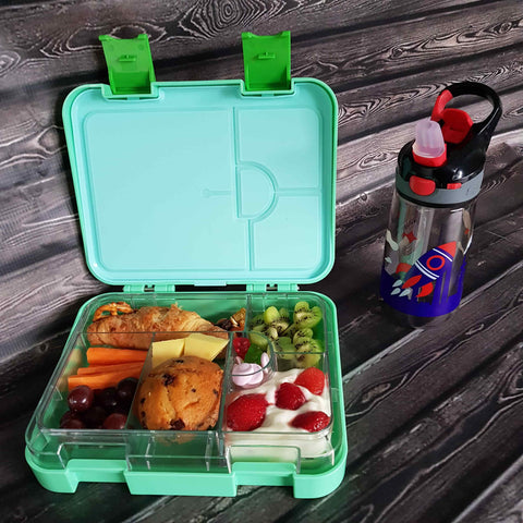 DEj KidS Green Bento Lunchbox / Lunch box & drink bottle