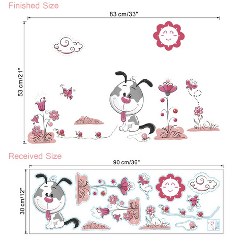 Removable Wall Sticker Puppy Size