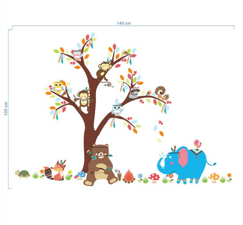 Removable Wall Stickers - Jungle Animals Size completed 2