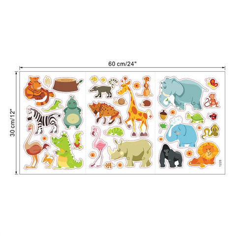 Removable Wall Stickers - Savannah Animals Size