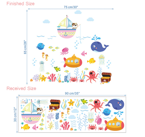 Removable Wall Stickers - Under the Sea Size
