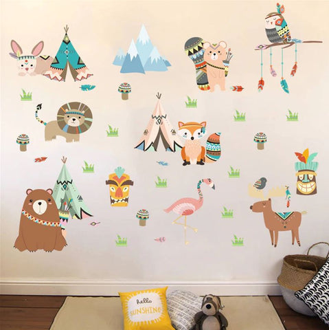 Removable Wall Stickers Animal Tribe