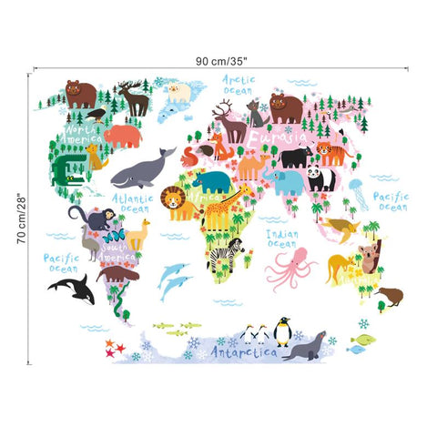 Wall Stickers Kids Room Animal World Map Sizing