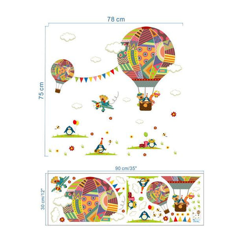 Wall Stickers Kids Room Hot Air Balloon Sizing