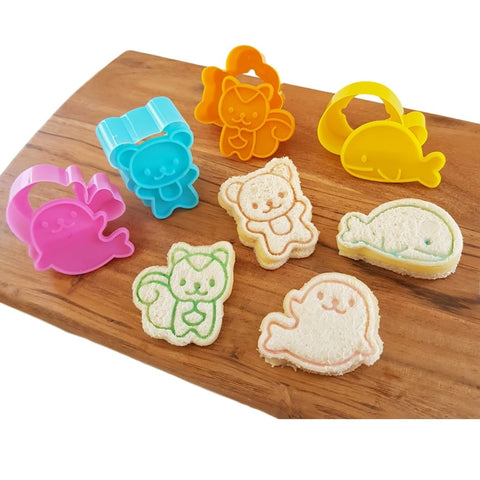 4Pc Animals Mini Sandwich Cutters / Stamps