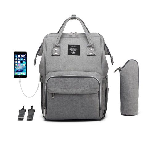 5 Piece USB Grey Baby Bag