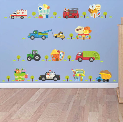 Removable Wall Decals Cartoon Vehicles