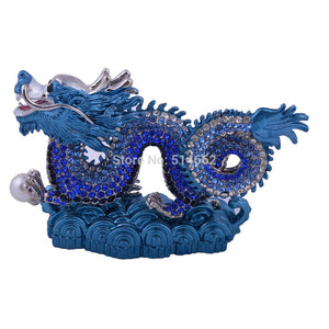 Feng Shui Bejeweled Blue Dragon animal statue G1290