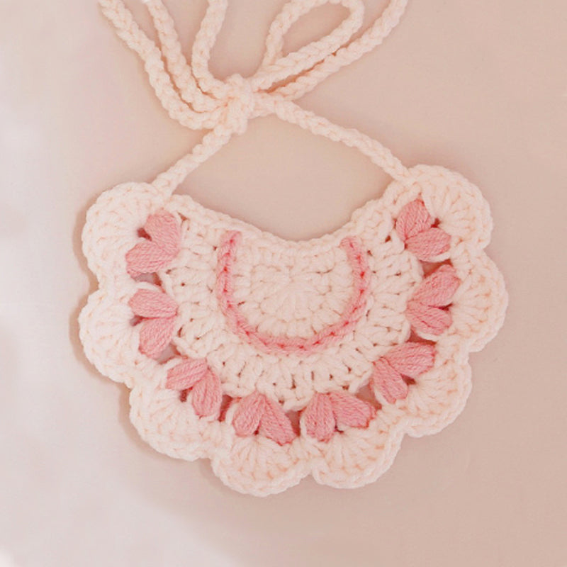 Handmade Wool Bibs-Peach Princess