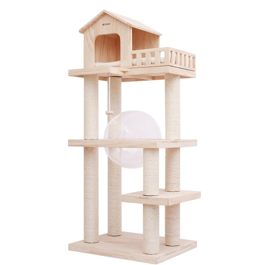 PRE-ORDER | 145cm Luxury Wooden Capsule Cat Tree【SELF PICK UP ONLY】-Cat Toys-PawPawDear