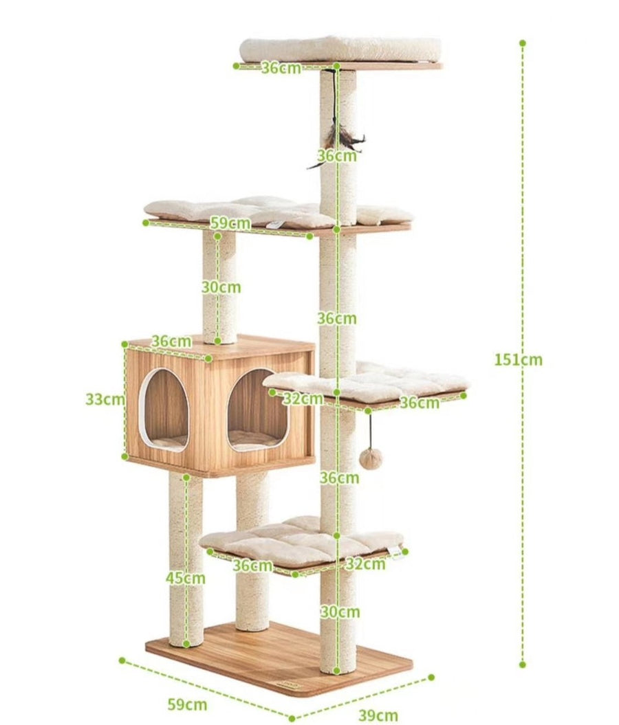 150cm Wooden Cat Tree