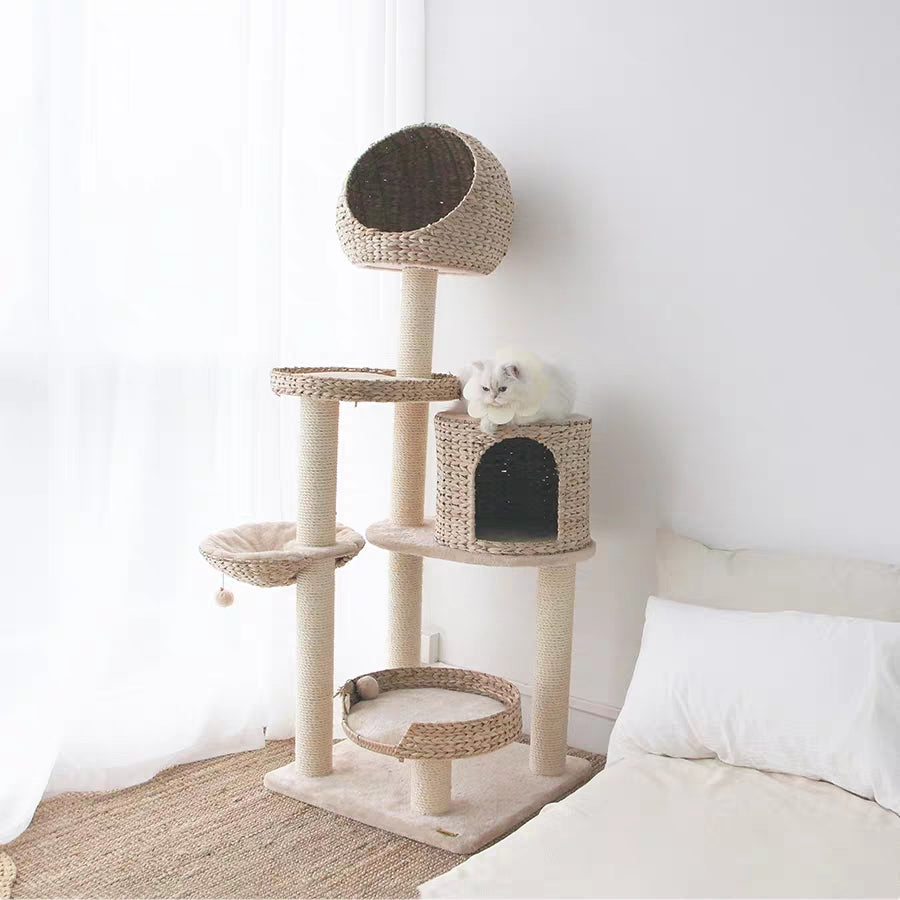 Rattan Cat Tree【SELF PICK UP ONLY】-Cat Toys-PawPawDear