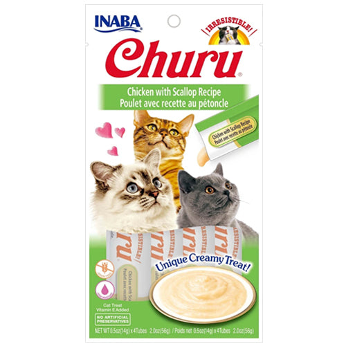 Inaba Churu Purées Cat Treat - Chicken with Scallop-Treats-PawPawDear
