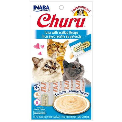 Inaba Churu Purées Cat Treat - Tuna with Scallop-Treats-PawPawDear