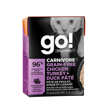 GO! SOLUTIONS CARNIVORE Grain Free Pâté for Cats 6.4 oz - Chicken + Turkey + Duck