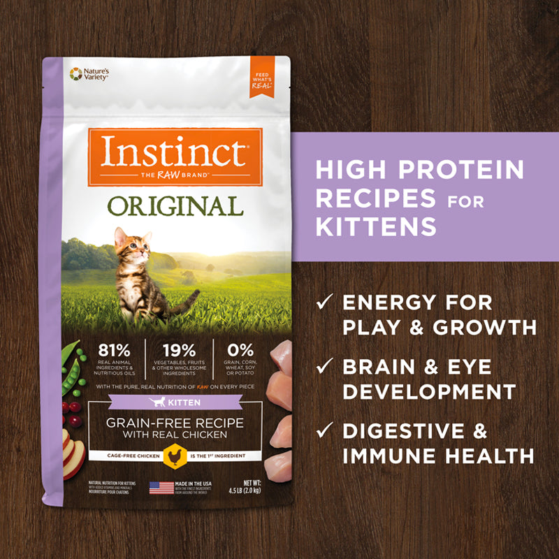Instinct® Original Grain-Free Recipe with Real Chicken for Kittens 4.5lb【SELF PICK UP & LOCAL DELIVERY ONLY】