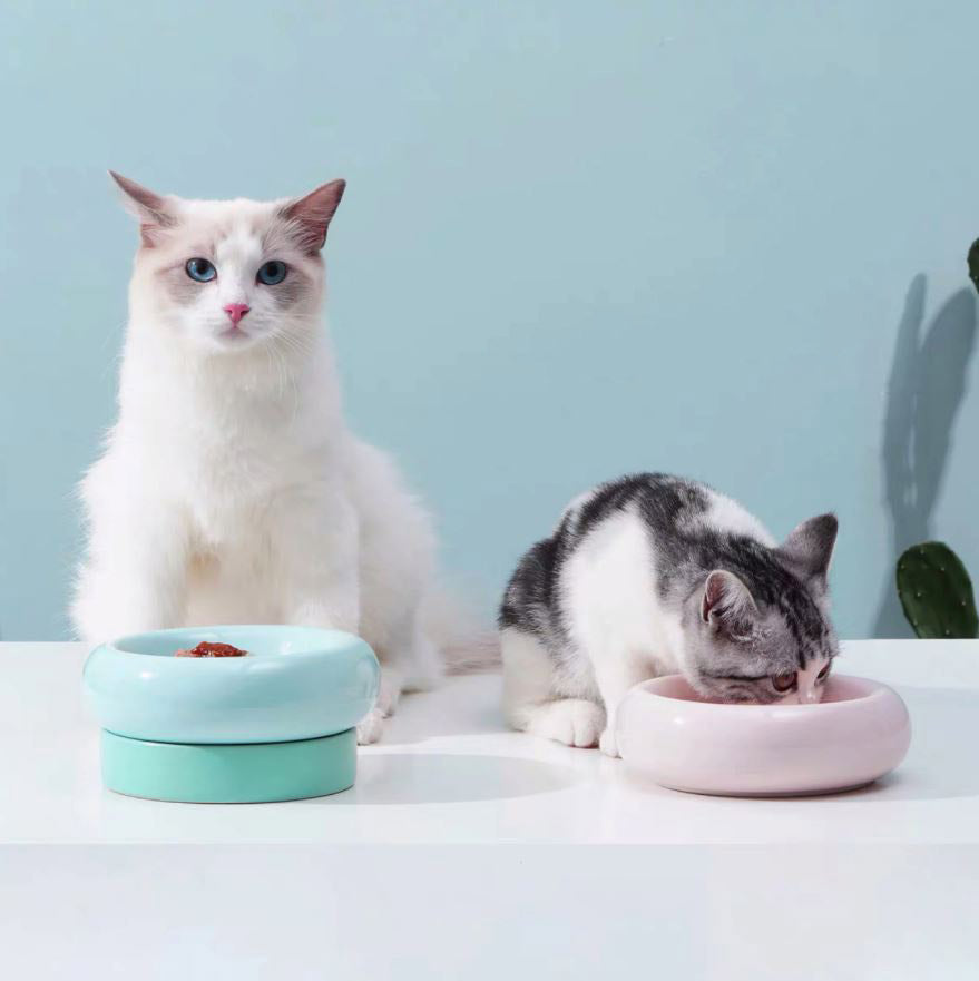 Makesure Donut Cat Dining Bowl-Cat Bowls-PawPawDear