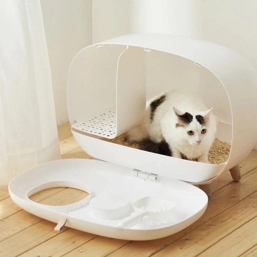 Makesure Cat Litter Box - WHITE-Litter Box-PawPawDear