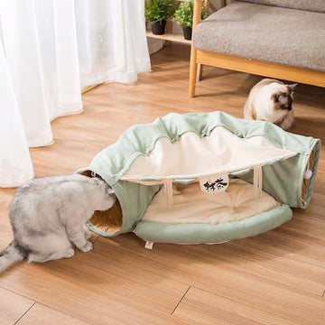 Cat Tunnels Toy Cat Bed - Matcha-Cat Toys-PawPawDear