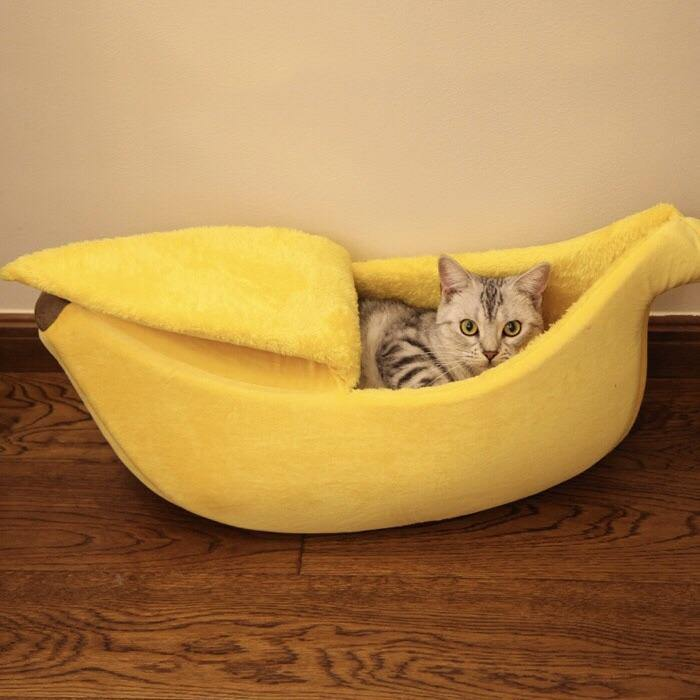 Yellow Banana Soft Pet Bed-Bed-PawPawDear