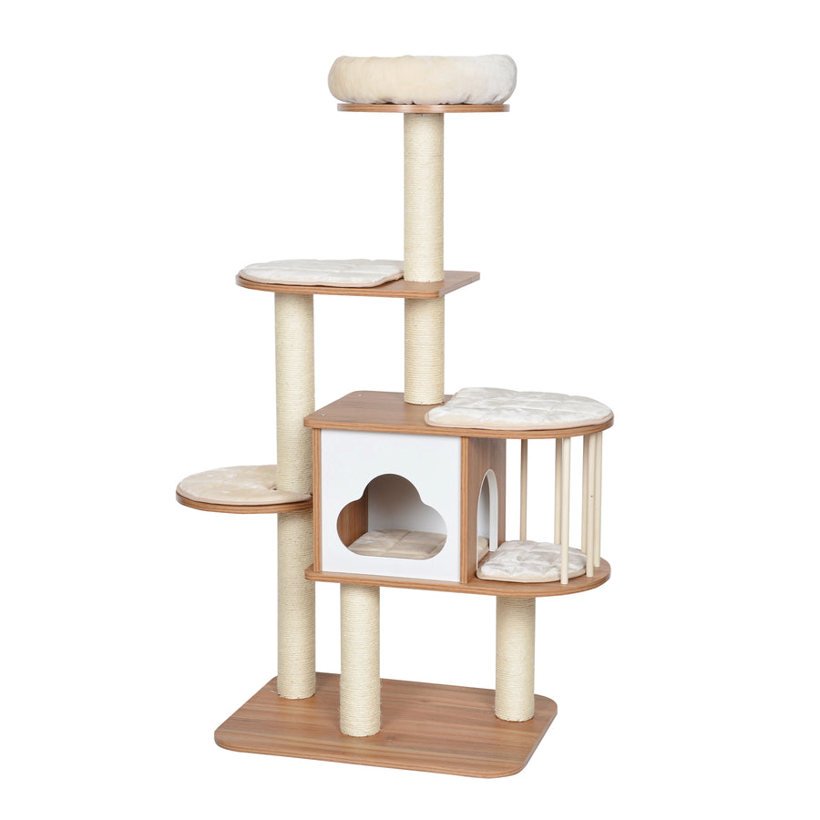 """Cloudy"" Wooden Cat Tree 147cm"