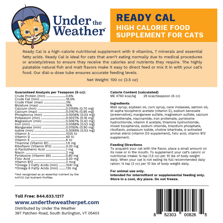 Under the Weather Ready Cal Nutritional Supplement for Cats-Healthcare-PawPawDear