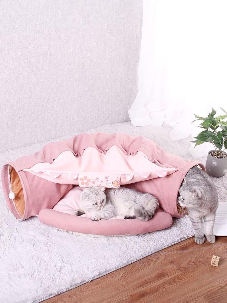 Cat Tunnels Toy Cat Bed - Cherry Blossom-Cat Toys-PawPawDear