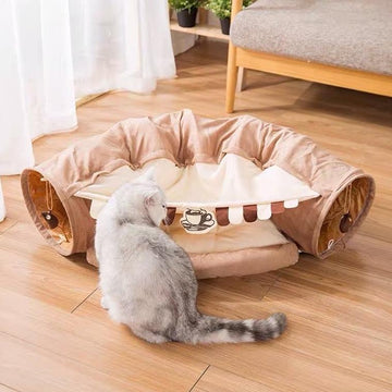 Cat Tunnels Toy Cat Bed - Coffee-Cat Toys-PawPawDear