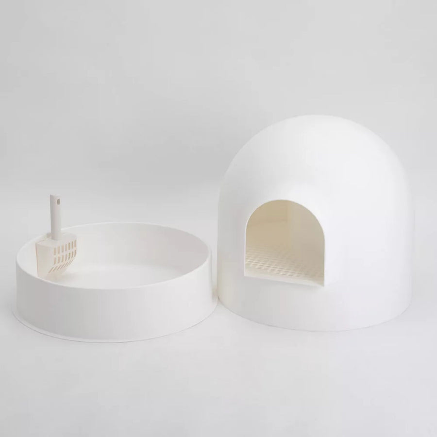 PIDAN Snow House Igloo Cat Litter Box with Scoop - WHITE