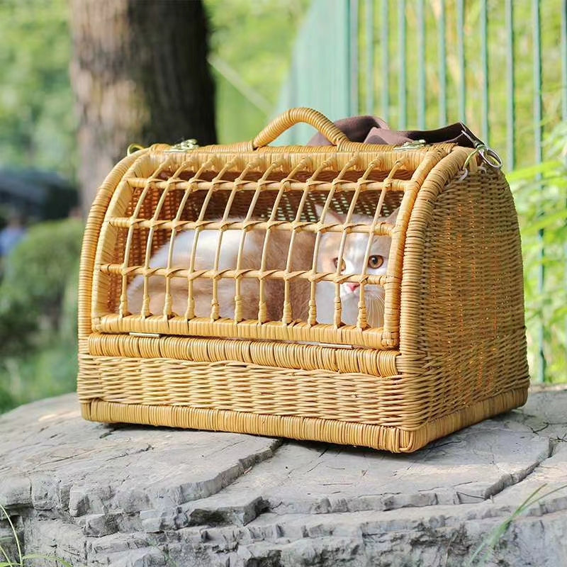 Handmade Rattan Pet Carrier-Travel-PawPawDear