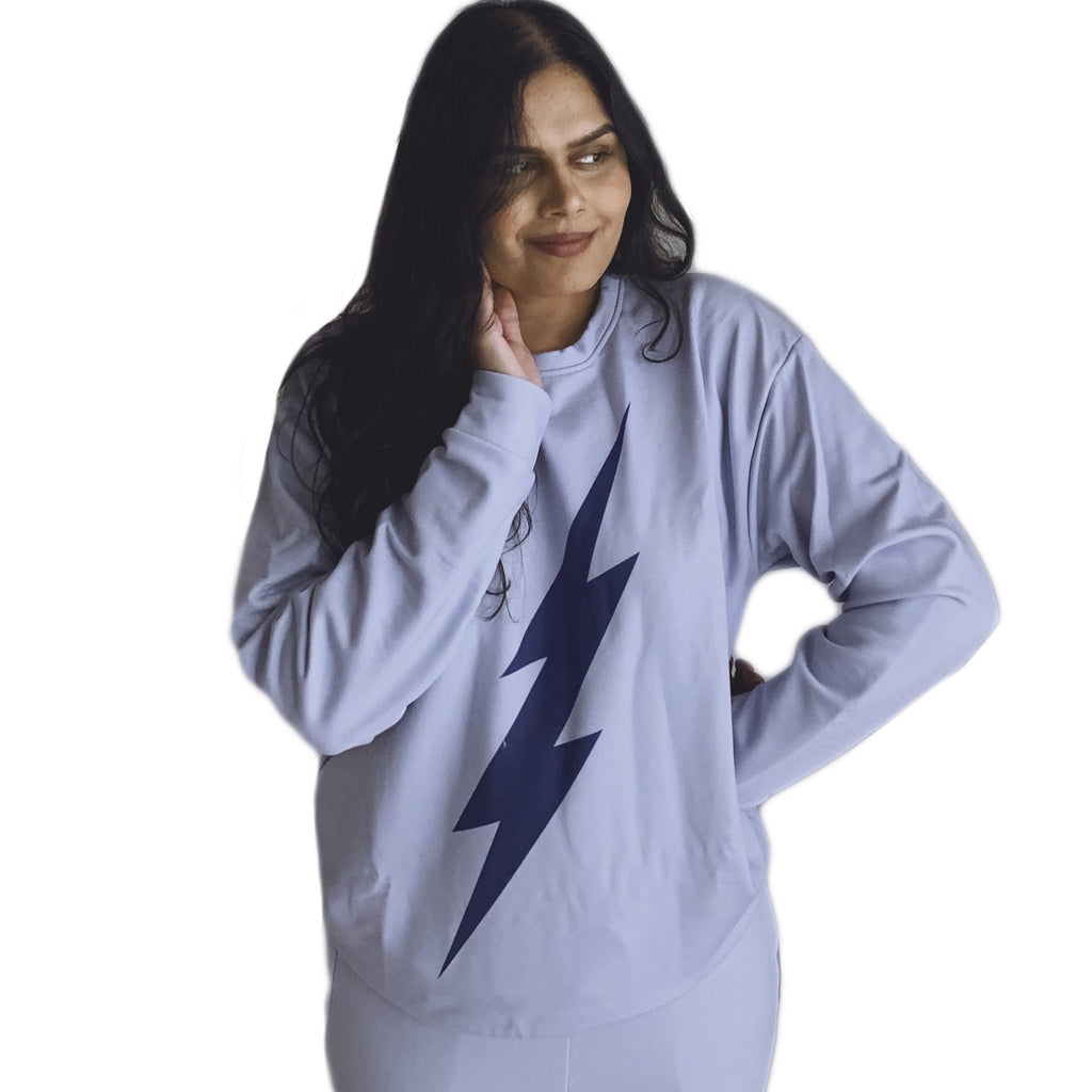 Unisex Blue Bolt Sweatshirt (Light Blue Sweatshirt, Deep Blue Bolt)