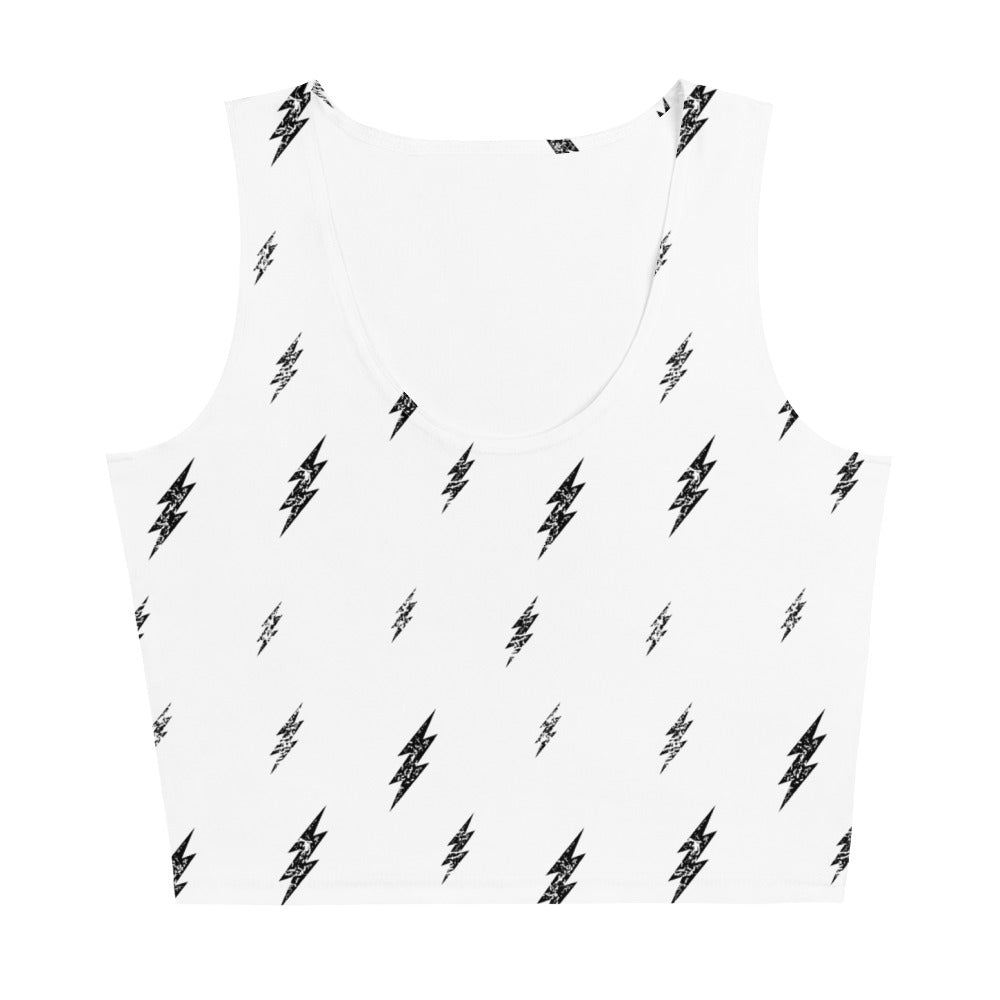 Floating Bolt Crop Tank (White Tank, Black Bolts)