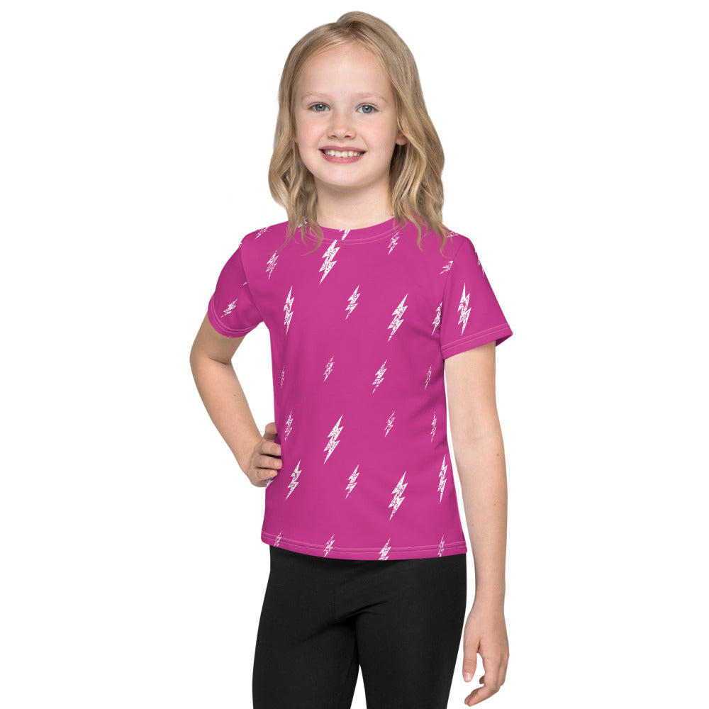Kids White Floating Bolt Pink Tee (Hot Pink Tee, White Bolts)