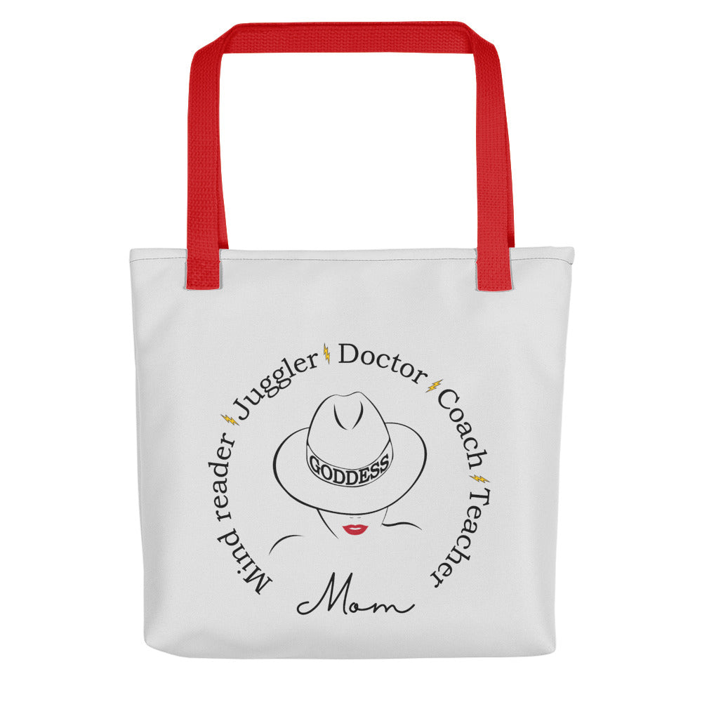 Goddess Mom Tote (Light Grey Bag, Black/Red Design)