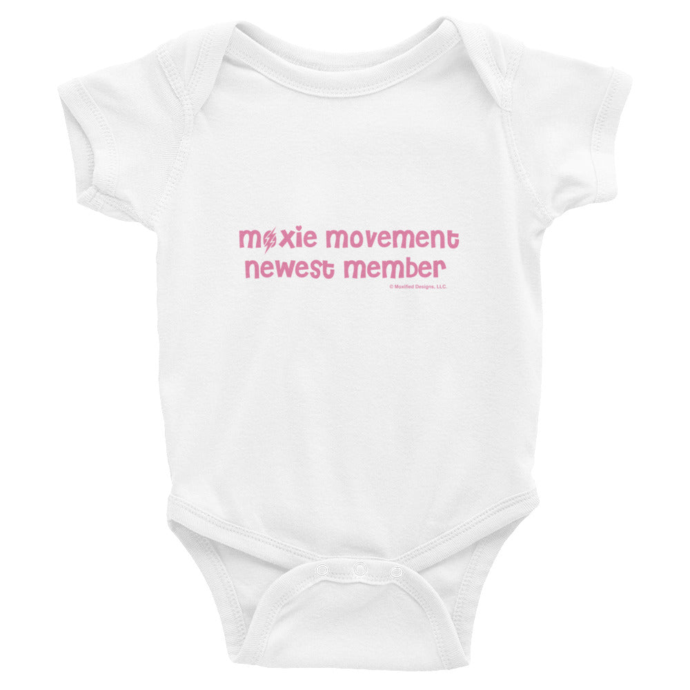 Moxie Movement Newest Member Bodysuit (Pink Text)