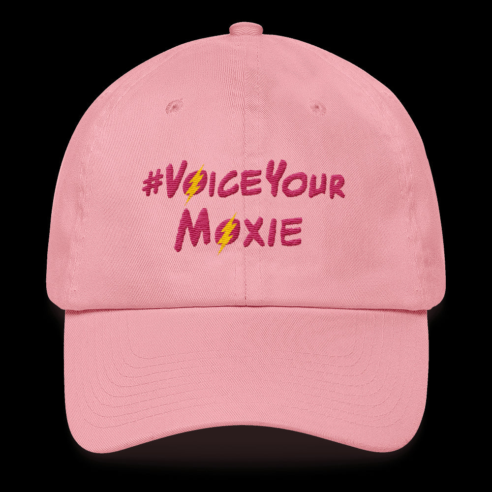 Baseball Hat #VoiceYourMoxie (Pink/Yellow Bolt), Hats. Moxie Chic is a brand that promotes girl power with girl empowerment/female empowerment apparel and other products. #VoiceYourMoxie is our handle for social media outreach because Moxie Chic believes every girl should exercise her voice for positive change (#VoiceYourMoxie).  Our brand celebrates and elevates girls.