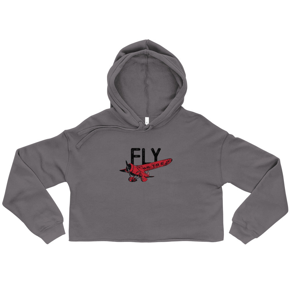 FLY Women's Crop Hoodie (Red/Black Design)