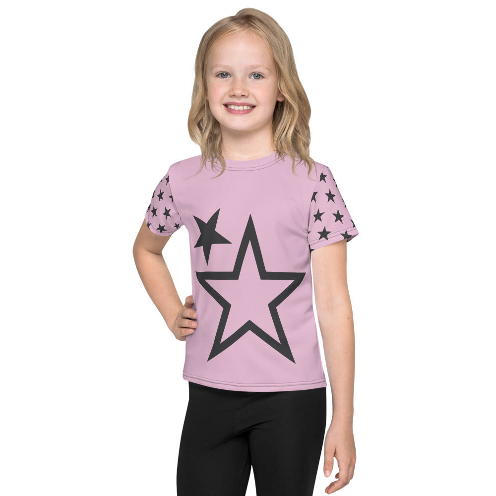 Kids Superstar Contrasting Sleeve Tee (Light Pink Tee, Charcoal Grey Stars)