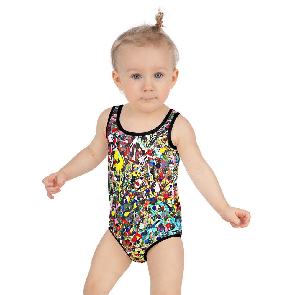 Modern Art Power Bolt Kids Swimsuit (Multi)