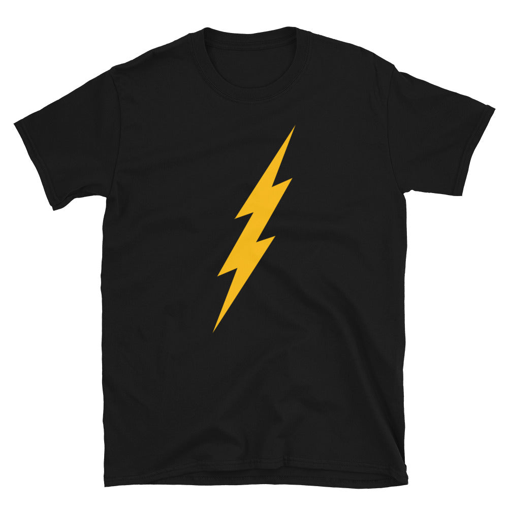 Yellow Front Bolt Front Adult Unisex Tee (Black Tee, Yellow Bolt)