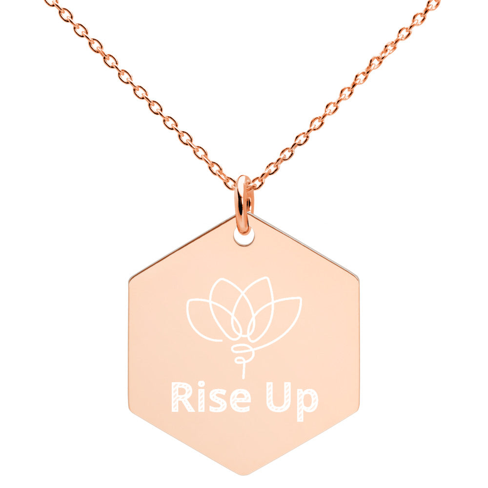 Rise Up Engraved Silver Hexagon Necklace