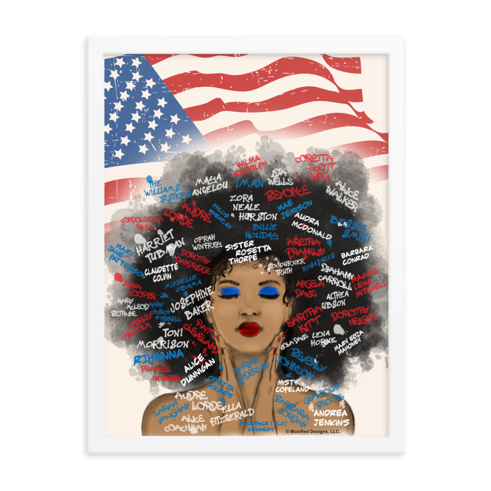 Juneteenth Framed Art Print (Red White Blue)